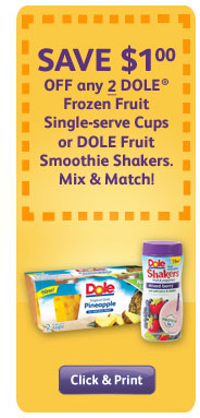 SAVE $1 OFF any 2 DOLE Frozen Fruit Single-serve Cups or DOLE Fruit Smoothie Shakers. Mix & Match!